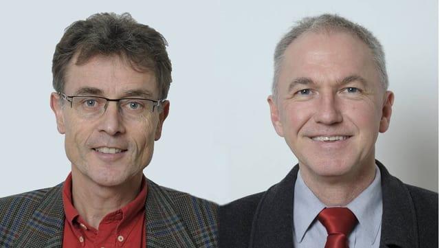 Porträts von Martin Rüegg und Jürg Wiedemann.
