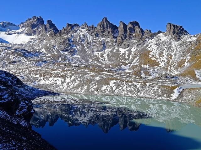 Bergsee, darum herum berge mit Schneeflecken.