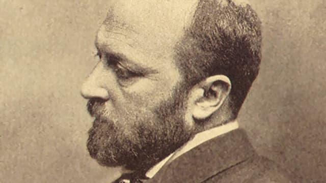 Ein Mann mit Vollbart und Glatze von der Seite aufgenommen.