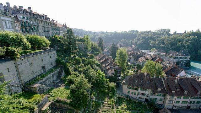 Blick von der Münsterplattform auf das Mattequartier in Bern,