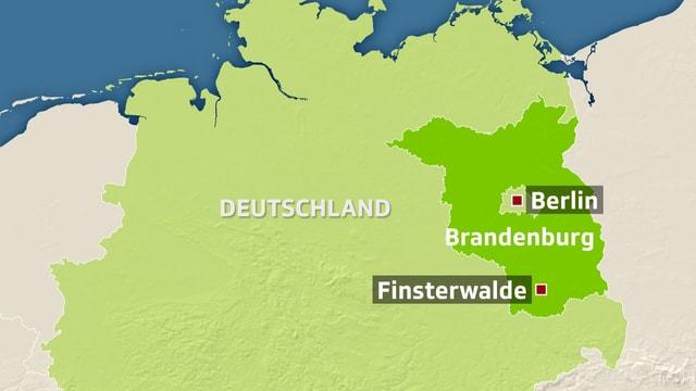 Karte von Deutschland. Berlin und Finsterwalde sind eingezeichnet.