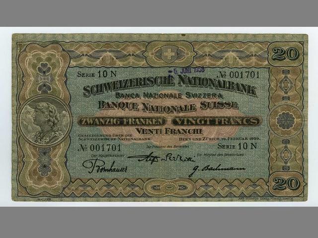 20er Banknote der 2. Banknotenserie von 1911