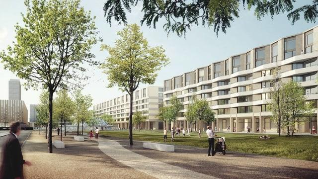 Computeranimiertes Bild eines Neubaus mit Wohnungen.