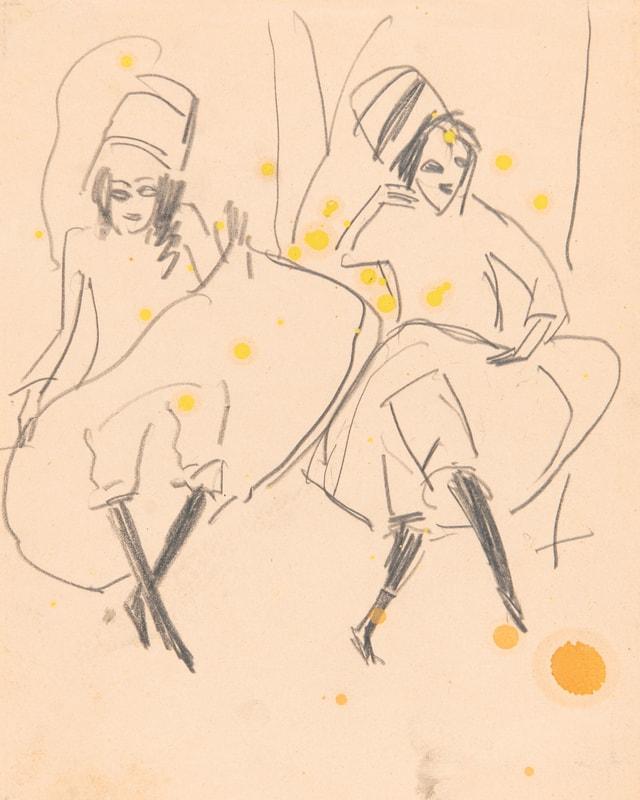 """Duas sautunzas russas cun turban"" dad Ernst Ludwig Kirchner (1880-1938)"