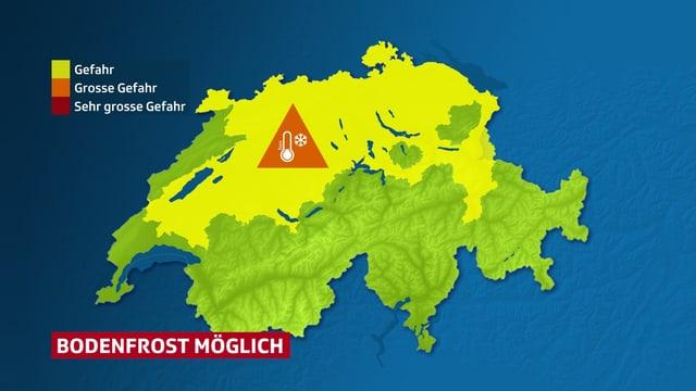 Schweizerkarte, wo ersichtlich ist das fast auf der ganzen Alpennordseite und in einigen Tälern Bodenfrostgefahr besteht.
