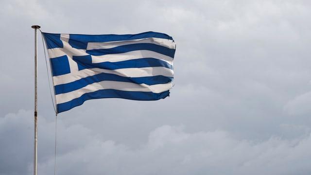 Bandiera greca en il vent.