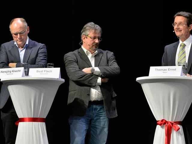 SVP-Nationalrat Hansjörg Knecht, GLP-Nationalrat Beat Flach und Nagra-Geschäftsführer Thomas Ernst