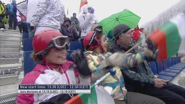Drei bulgarische Ski-Fans waren im Zielraum.