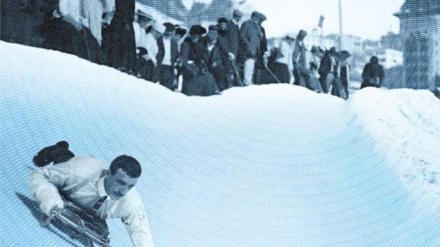 Fahrer mit Cravatte auf dem Skeleton Run in St.Moritz