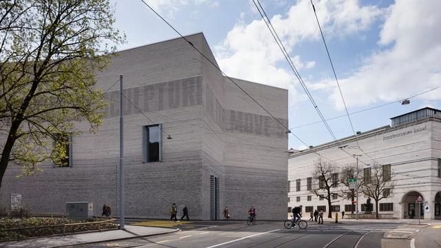 Blick auf den Erweiterungsbau des Kunstmuseums Basel. Gesehen von der Wettsteinbrücke her.
