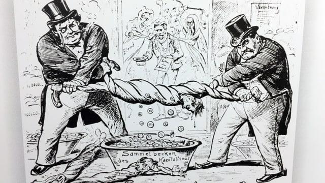 Karikatur zeigt zwei dicke Männer, die einen dünnen auswringen. Diesem fallen Münzen aus den Taschen.