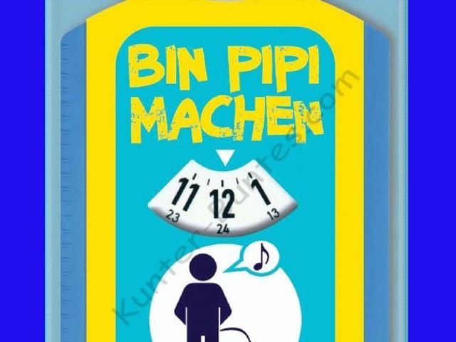 Parkscheibe mit Aufschrift «Bin Pipi machen».
