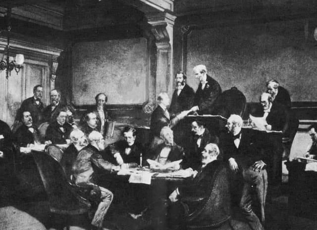 22. August 1864 anlässlich einer diplomatischen Konferenz wird die erste Genfer Konvention beschlossen.