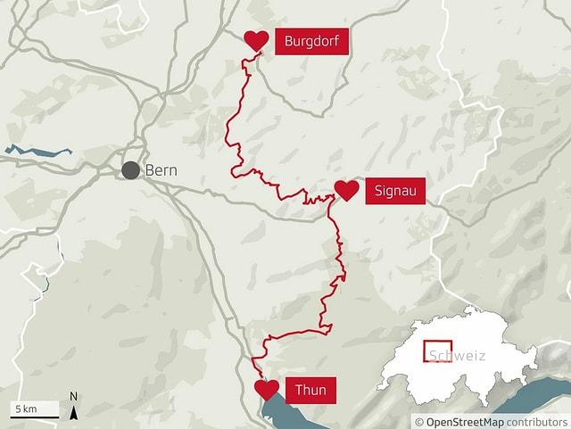Karte der Veloroute von Thun nach Burgdorf