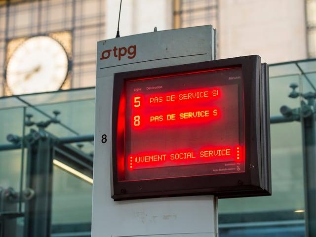 Schild «Pas de service» in Genf