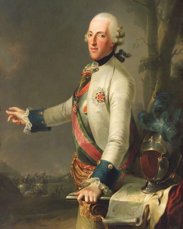 Man sieht ein Porträt von Herzog Albert von Sachsen.