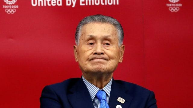 Mori an einer Medienkonferenz am 17. Juli in Tokio