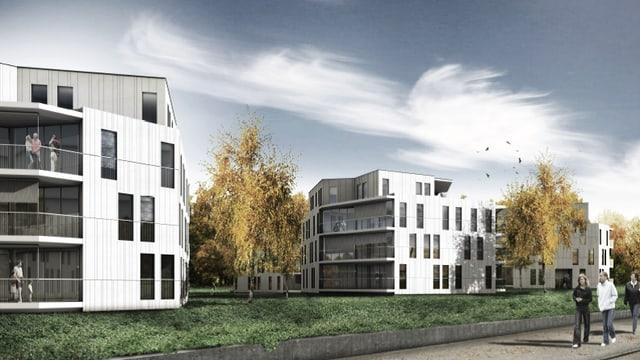 Weisse Wohnblöcke, versetzt, geplante Wohnungen.