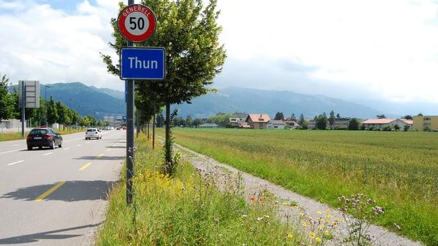 Landstück bei Strasse am Thuner Stadtrand.