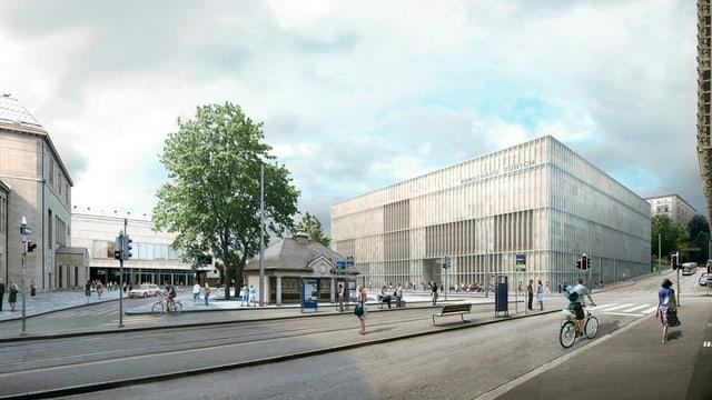Ein Platz mit Baum, Kiosk, Tramhaltestelle und dem neuen Bau des Kunsthaus.