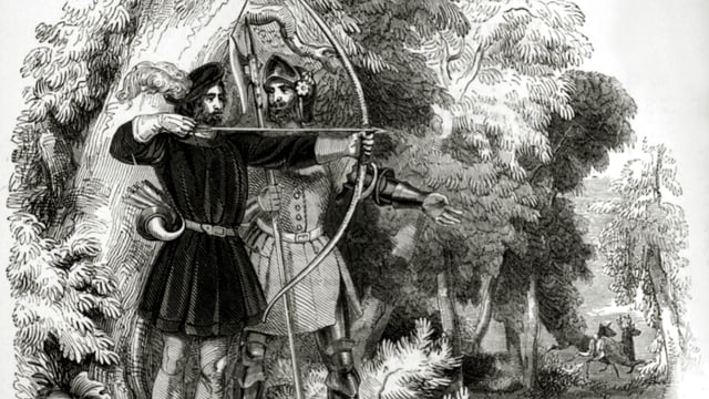 The picture shows an old depiction of Robin Hood.