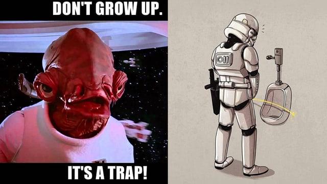 Liebevoll, bissig und mit viel bösem Humor wird Star Wars auch gerne für Witze missbraucht.
