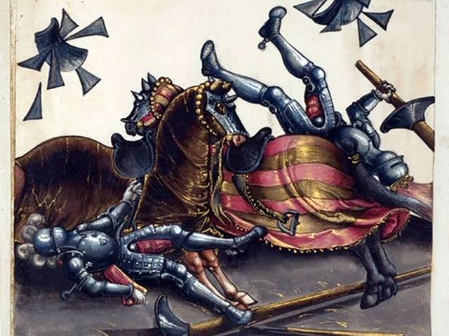 Zwei Ritter tjosten an einem Turnier