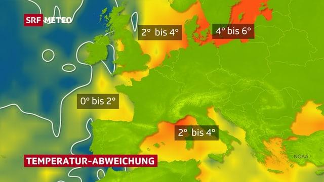 Europakarte mit der Temperaturabweichung bei den Meeren. Am grössten ist die Abweichung in der Ostsee mit bis zu 6 Grad von der Norm. Auch die Nordsee und das Mittelmeer sind 2 bis 4 Grad zu warm.