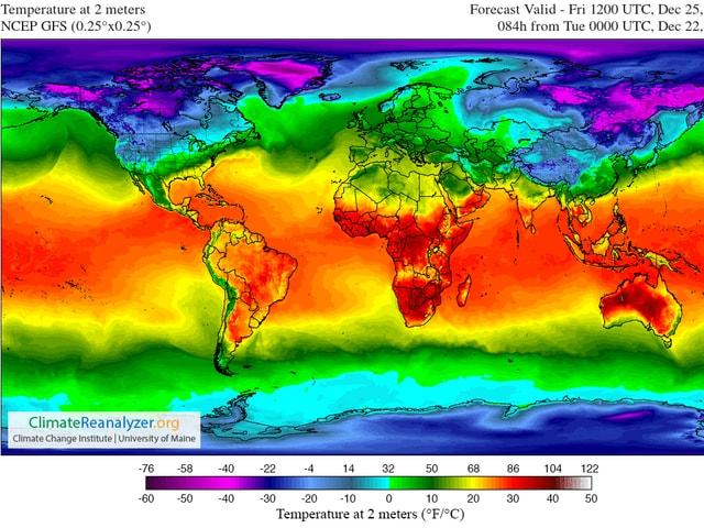 Auf einer Weltkarte ist die Temperaturverteilung dargestellt. In Australien und im zentralen und südlichen Afrika dominiert die dunkelrote Farbe (rund 30 bis 40 Grad). Auf Grönland und im Osten Sibiriens die dunkelviolette (-40 Grad).
