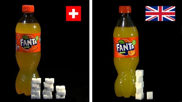 Fantaflaschen mit Zuckerwürfel