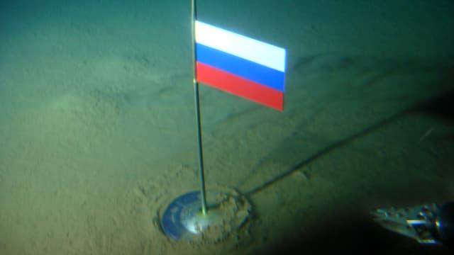Russische Titanfahne auf dem Meeresgrund am Nordpol.
