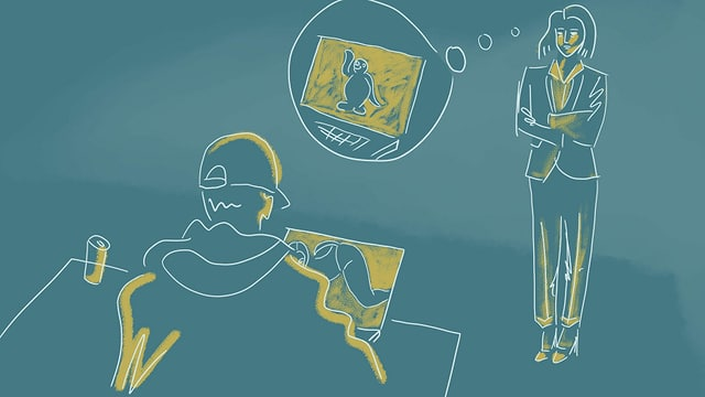 eine Illustration, die einen Teenager am Laptop zeigt und eine Mutter, die an die Sendung Pingu denkt