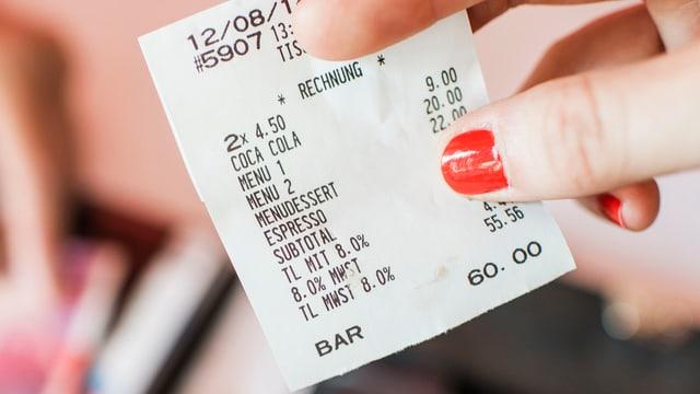 Ein Kassenzettel mit aufgeführter Mehrwertsteuer von 8 Prozent