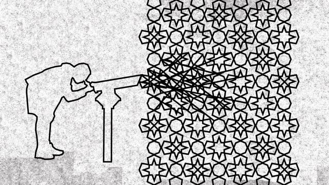 Illustration: Ein Mensch schaut in ein Fernrohr, aus dem sich Linien in einem islamisch anmutenden Ornament verstricken.