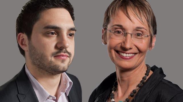 Porträtbilder der beiden Kandidaten.