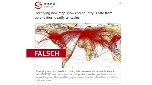 Der Tweet dieser Boulevard-Zeitung soll die fatal schnelle und vor allem flächendeckende Verbreitung des Virus zeigen. Tatsächlich zeigt die Weltkarte aber den globalen Luftverkehr.