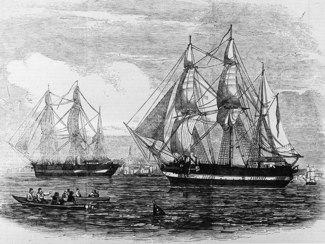 Illustration der Schiffe «HMS Erebus» und «HMS Terror» von 1845