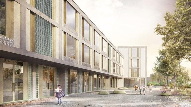 Visualisierung des Neubauprojekts «Schulhaus Krämeracker»