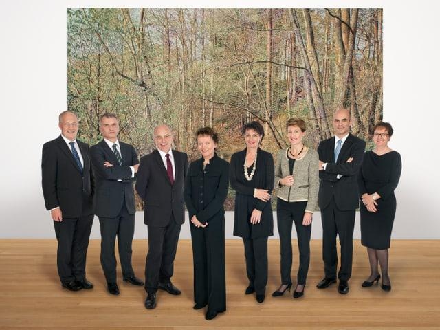 Moderner Auftritt 2012: Aufgereiht vor dem Gemälde «Frühling» des zeitgenössischen Künstlers Franz Gertsch bricht der Bundesrat auf ins neue Jahr.