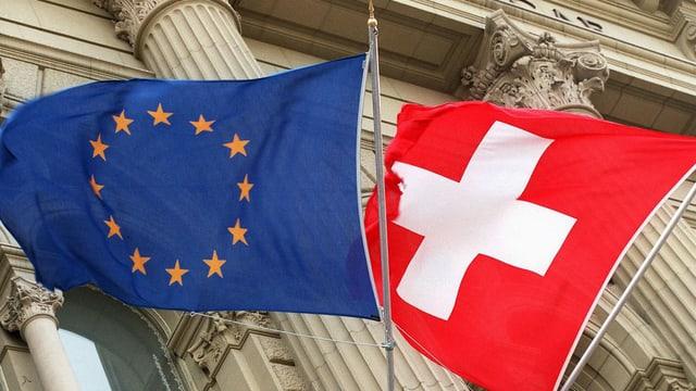 Die Flagge der europäischen Union neben der Schweizer Flagge vor dem Bundeshaus.