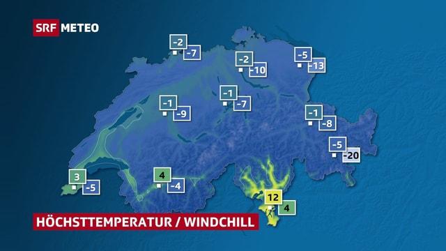 Temperaturkarte und Wind-Chill.