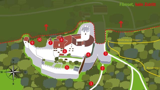 Ausschnitt aus dem Veranstaltungsflyer, zeigt einen Situationsplan der Burg