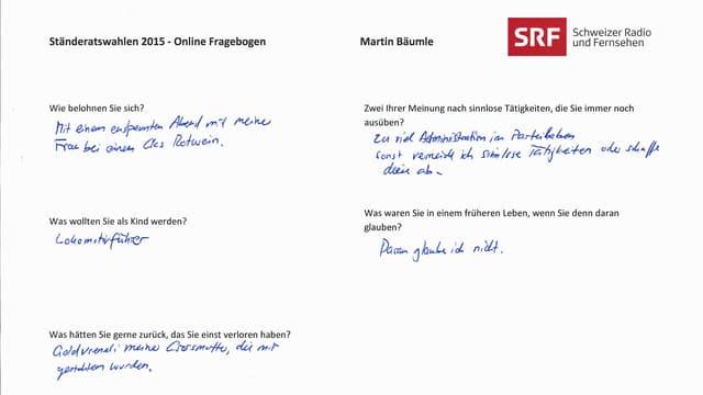 Handschriftlicher Fagebogen von Martin Bäumle.