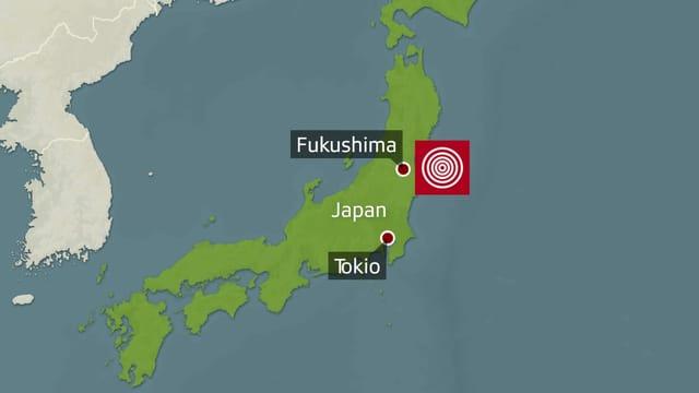 Japanische Insel mit Epizentrum des Bebens und Fukushima und Tokio