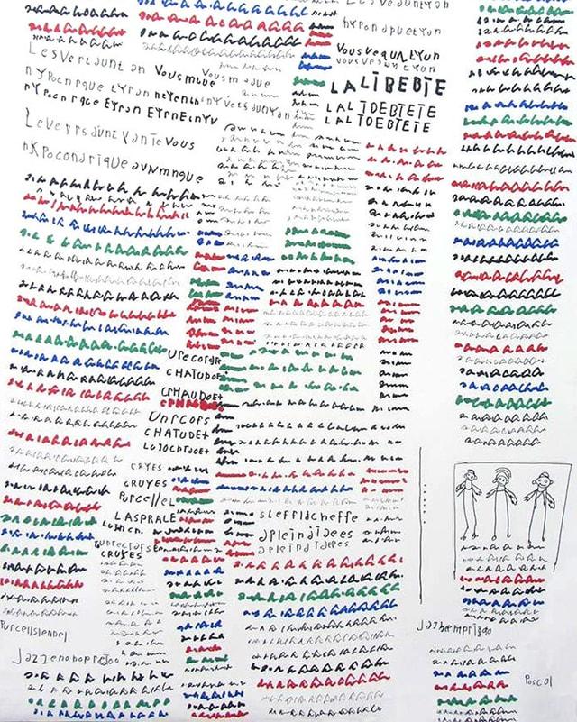 Ein Blatt, das gefüllt ist mit Text in diversen Farben und drei Strichmännchen.
