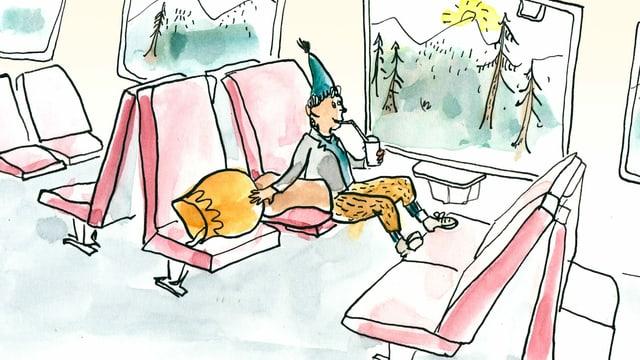 Schellen-Ursli sitzt in Zug. Neben ihm liegt die grosse Glocke auf einem Sitz.