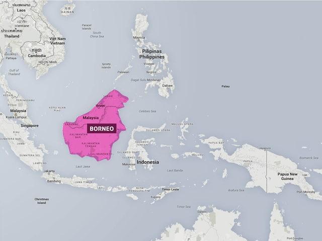 Eine Karte zeigt, wo Borneo situiert ist. Die Insel liegt im Malaiischen Archipel.