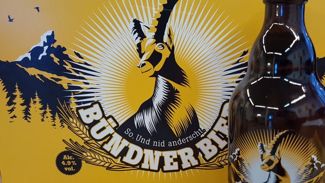 Il logo da la bieraria Grischuna cun ina buttiglia.