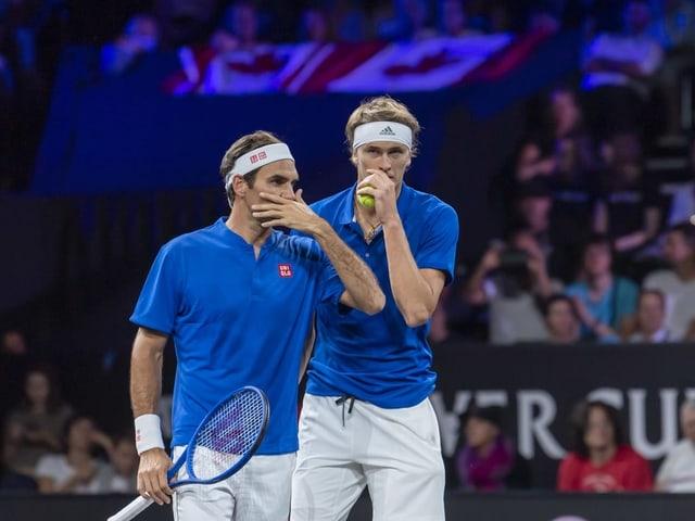 Noch vor 3 Wochen standen Roger Federer und Alexander Zverev auf der gleichen Seite des Netzes.