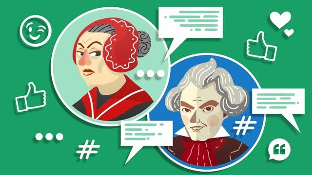 Illustration von Beethoven und seiner Haushälterin